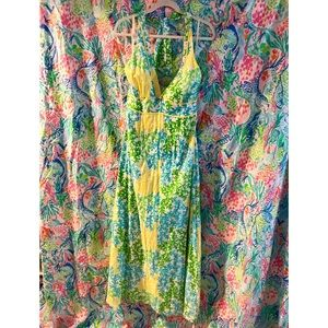 Lilly Pulitzer OK Coral Maxi Halter Dress Size 8